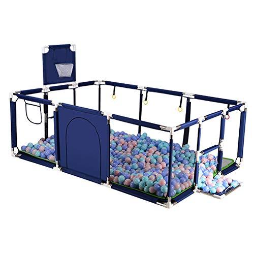 JLXJ Baby laufgitter Tragbarer Sicherheitsbaby-Laufstall, Abnehmbarer, Faltbarer Anti-Fall-Baby-Aktivitätscenter-Zaun mit Fußball-Basketballkorb, Stabilen Basen, rutschfest (Color : Blue)