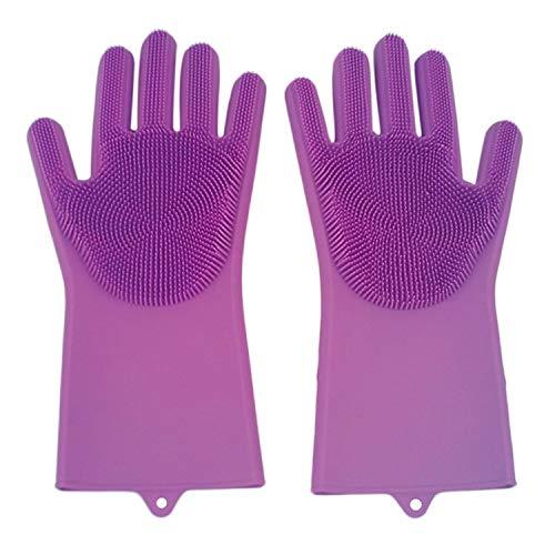 Un par de guantes de limpieza de goma de silicona para limpiar el polvo, lavar platos, cuidado de mascotas, cuidado del cabello, ayuda de cocina aislada