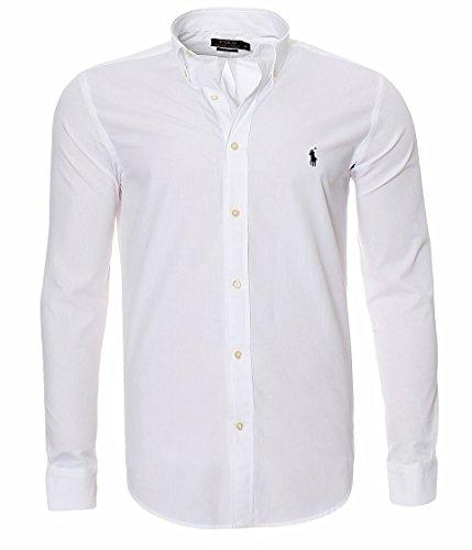 Ralph Lauren Herren Hemd Classic Slim Fit S-M-L-XL-XXL Outlet, Farbe:Weiß, Größe:S