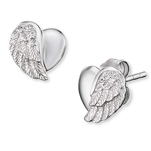 Engelsrufer - Ohrringe mit Herzflügel für Damen, Ohrstecker aus rhodiniertem 925 Sterlingsilber, Ohrschmuck mit weißen Zirkonia Stein und Herz Flügel Motiv