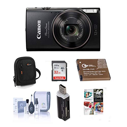 Canon PowerShot ELPH 360 HS 20.2MP Digital Camera, Black - Bundle with Camera Case, 32GB Class 10 SDHC Card, Spare Battery, Cleaning Kit, Card Reader, Software Package
