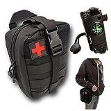 Estuche de primeros auxilios negro vacío con pulsera de paracord multifunción, resistente, compacto diseñado para senderismo, paintball y militar