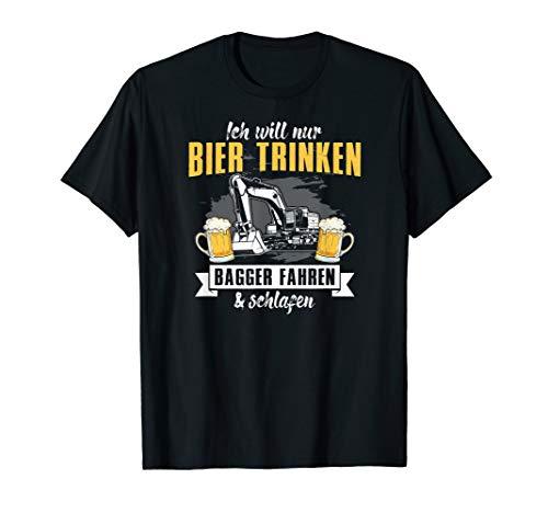 Baustelle Shirt Bagger Bauarbeiter Spruch Bier trinken