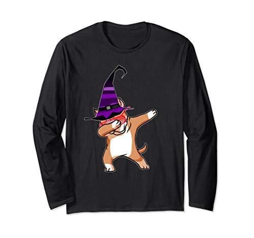 Halloween Dabbing Pitbull Puppy Dog Witch Hat Costume Gift Langarmshirt