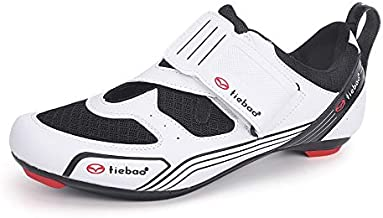 Tiebao Outdoor Triathlon Road Bike Cycling Shoes or Indoor Peloton Cycle Class Riding Shoes Compatible with SPD, SPD-SL, Look-KEO Cleats for Men Women White 8.5 US