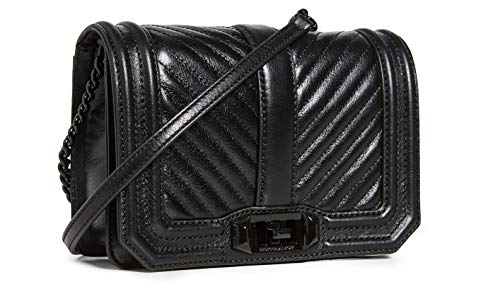 Rebecca Minkoff Women's Chevron Quilted Small Love Crossbody Bag, Black, One Size