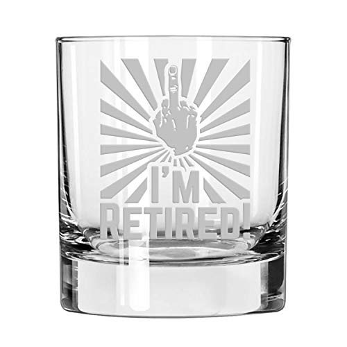 I'm Retired! Double Old Fashioned/Whiskey Glass (Man)