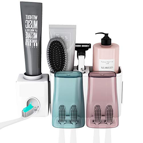 E-ROOM TREND Toothbrush Holder Wall Mounted Removable with Spare Adhesive Pads, Automatic Toothpaste Dispenser Bathroom Organization Space Saving Perfect for Home Dormitory Use 2 Cup Set (A001)