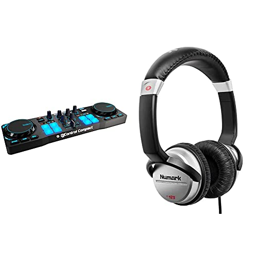 Hercules djcontrol Compact Controlador DJ pc / Mac tamaño Compacto Ligero + Numark hf125 Auriculares de DJ Profesionales ultraportátiles con Cable de 1,8 m