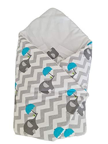 BlueberryShop manta de algodón para envolver al bebé en el coche, Saco de dormir para bebés recién nacidos, Para bebés de 0-3 meses, Baby Shower, 78 x 78 cm, Blanco Elefante