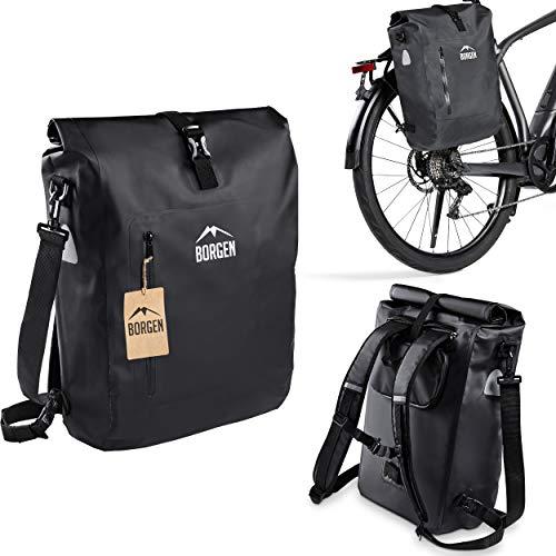 Bolsa para Bicicleta de Borgen para portaequipajes 3 en 1, Mochila para Bicicleta I Bolsa portaequipajes I Bolso de 25 L Combi Bolsa para Bicicleta