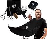 immetee Beard Grooming & Trimming Kit for Men, Beard Apron Cape, Beard Brush, Beard Comb & Barber Scissors for Styling, 5 in 1 Beard Catcher Kit, Perfect Present for husband/boyfriend.