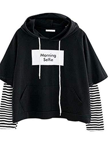 VEMOW Damen Hoodie, Frauen Brief gedruckt Sweatshirt Langarm Nähen Bluse Tops