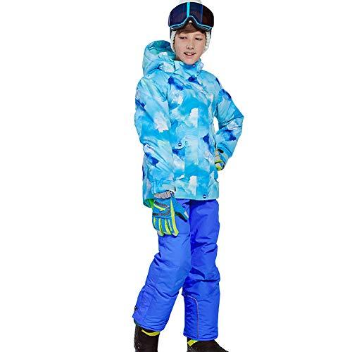 LSHEL Kinder Jungen/Mädchen 2 Teilig Skianzug Schneeanzug(Skijacke+ Skihose), Top+Königsblaue Hosen, 158/164