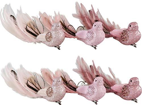 Hoff Interieur 6664 Deko Vögel, 6-teiliges Vogel Deko Set zum Basteln, Weihnachtsbaum Deko Vögel Christbaumschmuck, Vogel Figuren Deko für Hochzeit & Weihnachten