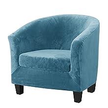 Mingfuxin 2 fundas de terciopelo para sillones, fundas de silla de club de alto estiramiento con funda de cojín, fundas de sofá de tina y fundas de muebles (Upgraded01-azul pavo real, terciopelo)