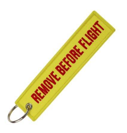 Gemelolandia sleutelhanger Remove Before Flight geel/rood