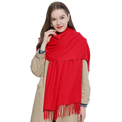 DonDon Damen Schal einfarbig weich 185 x 65 cm rot