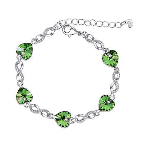 Le Premium® 'Amor Infinito' Pulsera Corazones con 5 Piezas de Cristales austriacos genuinos en Forma de corazó -Rodio Plateado -Verde peridoto