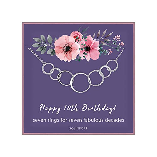 SOLINFOR 70th Birthday Gifts for Women - Sterling Silver Necklace with Gift Wrapping, Card - Seven Circle for Her 7 Decade - 70 Years Old Jewelry Gift Idea