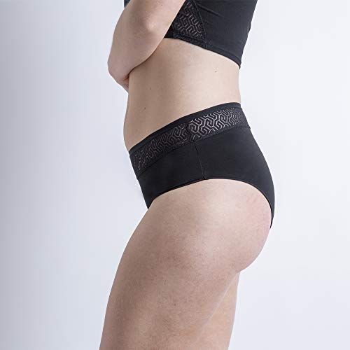 Cocoro Clásica MOERI | Braga menstrual absorbente | Reutilizable | Fabricado en España | Talla 3/M | Color Negro