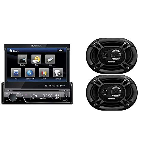 Soundstream VIR-7830B Single-Din Bluetooth Car Stereo DVD Player with 7-Inch LCD Touchscreen with Sound Storm EX369 300 Watt (Per Pair), 6 x 9 Inch, Full Range, 3 Way Car Speakers (Sold in Pairs)