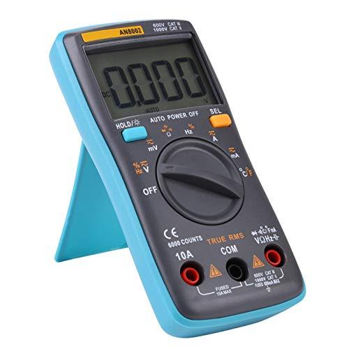 Voltímetro, potente y confiable multímetro seguro y preciso de rango automático, pantalla grande de 4 dígitos (6000) para el hogar de la escuela