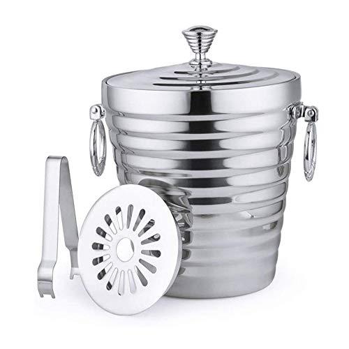 AJMINI Barbo de Hielo de Doble Acero Inoxidable Barra de Hielo KTV Champagne Bucket Barrel Barril Aislamiento Cubeta de Hielo, Adecuado para Bebidas y Fiesta privada (Tamaño: 2L) (Size : 2.0L)
