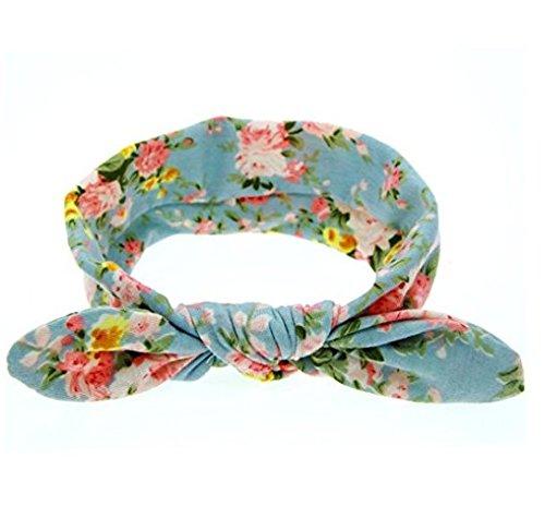 Bandeau pour bébé Auxma Oreilles de lapin mignon bébé élastiques bowknot bandeau de fleurs Cheveux (B)