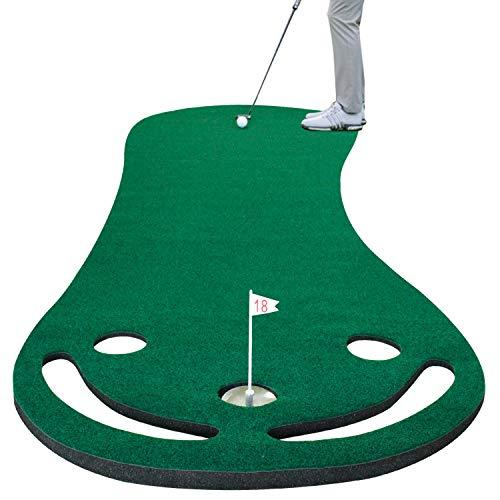 Crestgolf Golf Putting Matte Golf Übungsmatte Persönliche Übungsmatte Outdoor oder Indoor-Freizeit Einfach zusammenklappbare DREI Loch Putting Matte
