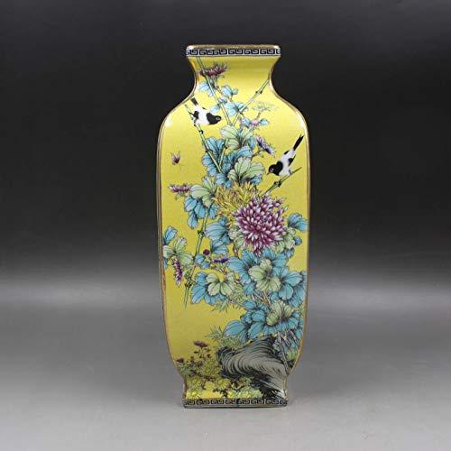 ZYG222 Qing-Dynastie ausgetrocknet Malerei Gold Blume Vogel Quadrat Vase antike alte Waren Porzellan Hauptdekorationen