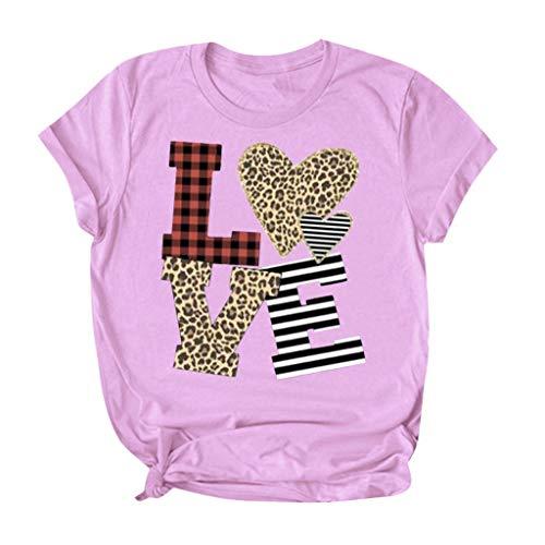 serliy😛Damen Valentine's Day Tee Mode Herz Print Tops Festliches Kurzarm T-Shirt Party Shirts Frauen Streetwear Bluse Oberteile Gotik Top Nachtclub Partykleidung