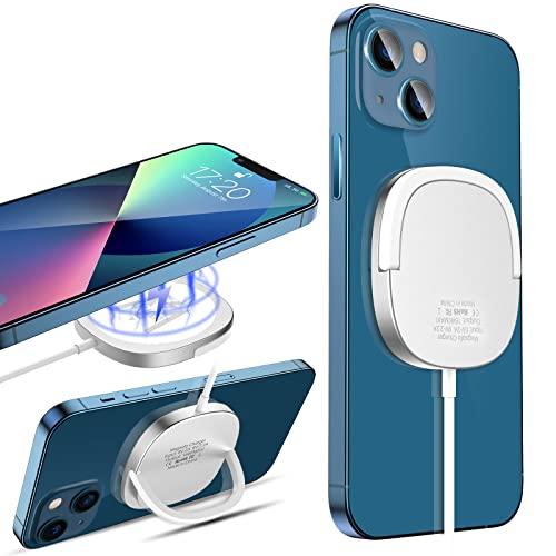 KKM Magnetische Kabelloses Ladegerät, Magsafe Ladegerät Kompatibel mit iPhone 13 mini/13/13 Pro/ 13 Pro Max/12/12 Pro/ 12 Pro Max /12 Mini, 15W Schnell Wireless Charger