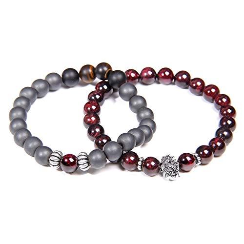 K-ONE Men Bracelets Natural Garnet Beads Bracelet For Women Red Stone Bracelet Silver-Plated Yoga Balance Pulsera Couples Jewelry Gift