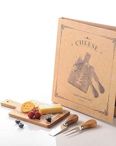Juego de tabla de queso pequeña y cuchillo, bandeja de charcutería y bandeja para servir vino, galletas, brie y carne para el hogar, picnic, restaurante, café (tabla cuadrada)