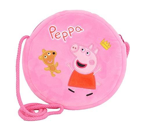 Peppa Wutz Schultertasche Schorsch Crossover Bag Umhängetasche Mädchen Junge (Peppa mit Bärchen Pink)