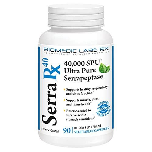 Serra-RX 40,000 SPU Serrapeptase - Enteric Coated Proteolytic Systemic Enzyme, Non-GMO, Gluten Free, Vegan, 90 Veg Capsules