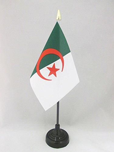 AZ FLAG TISCHFLAGGE ALGERIEN 15x10cm goldene splitze - ALGERISCHE TISCHFAHNE 10 x 15 cm - flaggen