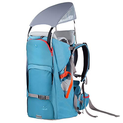 WIPHA Baby Backpack Carrier, Ergonomic Child Carrier Hiking with Sun Canopy, Safe Toddler Hiking Backpack Carrier with Large Storage Space&Insulated Pocket, Adjustable Padded Child Seat, Blue