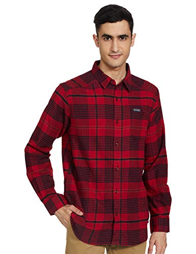 Columbia Cornell Woods Flannel Long Sleeve Shirt Camisa, Jaspe Rojo Ombre Plaid, XL para Hombre