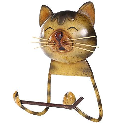 LANKOULI Tissue Box Cat Handtuchhalter Retro Toilettenpapierhalter Badezimmerregal Kleiderbügel Regal Wandregal Niedliche Katze Toilettenpapierhalter