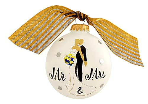 """Krebs Personalized Wedding Gift for Couple, Engagement, Anniversary Present, Parents, Housewarming Gift, Home Décor - Mr & Mrs 3 ¼"""" Glass Ball Ornament, Hand Decorated w/Ribbon & Hugs Gift Box USA"""