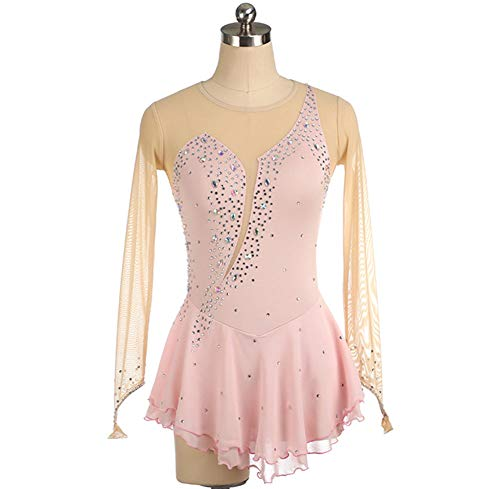 NEE Mädchen Eiskunstlauf Kleid Leistungskostüm Kristallen Rückenfrei Kostüm Langarm Eislaufen Kleider Tanzkleidung,Rosa,L