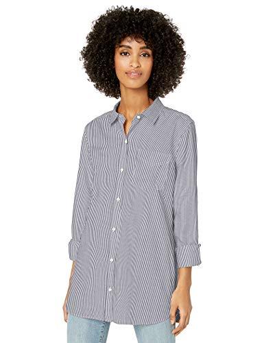 Goodthreads Lightweight Twill Long-Sleeve Button-Front Shirt Dress-Shirts, Azul Marino, Raya Blanca, US S (EU S - M)