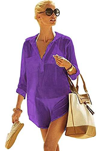 UMIPUBO - Blusa de mujer con cuello en V, para verano, playa, bikini con botón sexy, muselina de seda, blusa, chic, primavera, otoño PP. Talla única
