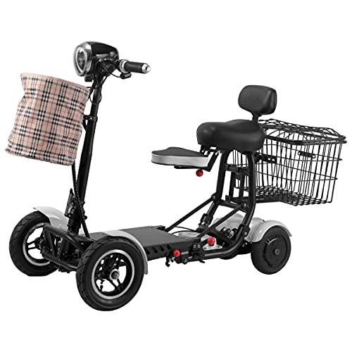 Wxnnx 10.4AH / 15.6AH Scooters de Movilidad Plegable, sillas de Ruedas móviles livianas eléctricas portátil de 4 Ruedas con Asiento,B,10.4Ah