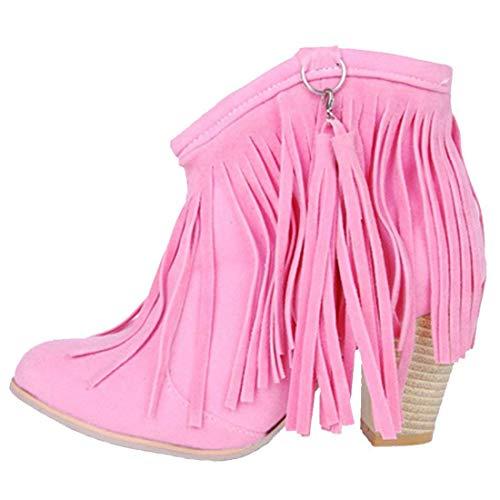 MISSUIT Damen Fransen Stiefeletten mit Blockabsatz Ankle Boots 8cm Absatz Winter Schuhe (Rosa,39)