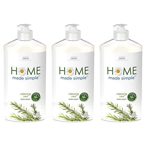 Home Made Simple Dish Soap Natural Dishwashing Liquid Plant Based, Rosemary Scent, 48 Fluid Ounce