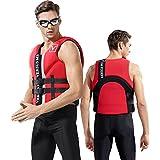magnifier Chaleco salvavidas anticolisión de neopreno para adultos chaleco salvavidas de seguridad para esquí acuático, natación, pesca, canotaje, kayak, rojo, 4XL