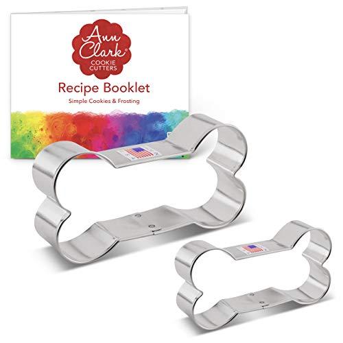 Ann Clark Cookie Cutters Juego de 2 cortadores de galletas hueso de perro con libro de recetas - 5,1 cm y 9,5 cm